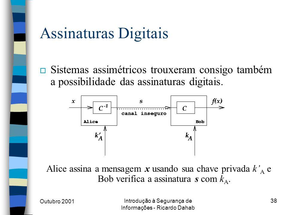Outubro 2001 Introdução à Segurança de Informações - Ricardo Dahab 38 Assinaturas Digitais o Sistemas assimétricos trouxeram consigo também a possibil