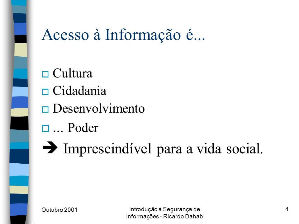 Outubro 2001 Introdução à Segurança de Informações - Ricardo Dahab 4 Acesso à Informação é... o Cultura o Cidadania o Desenvolvimento o... Poder Impre