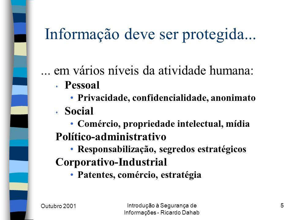 Outubro 2001 Introdução à Segurança de Informações - Ricardo Dahab 5 Informação deve ser protegida...... em vários níveis da atividade humana: s Pesso