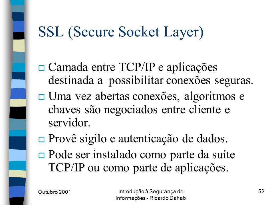 Outubro 2001 Introdução à Segurança de Informações - Ricardo Dahab 52 SSL (Secure Socket Layer) o Camada entre TCP/IP e aplicações destinada a possibi