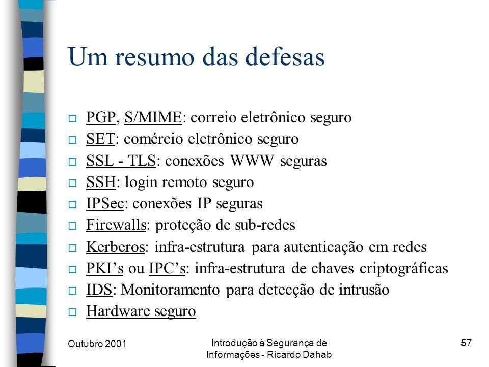 Outubro 2001 Introdução à Segurança de Informações - Ricardo Dahab 57 Um resumo das defesas o PGP, S/MIME: correio eletrônico seguro o SET: comércio e