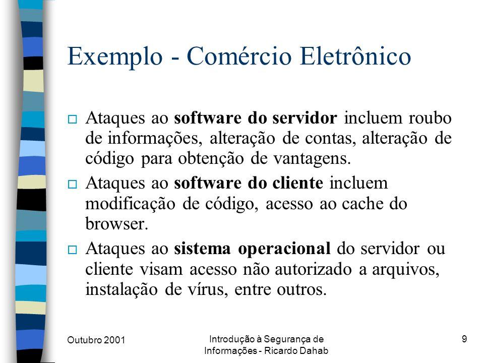 Outubro 2001 Introdução à Segurança de Informações - Ricardo Dahab 9 Exemplo - Comércio Eletrônico o Ataques ao software do servidor incluem roubo de