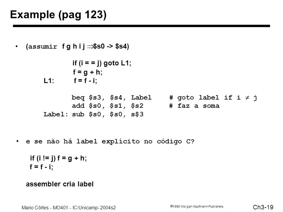 Mario Côrtes - MO401 - IC/Unicamp- 2004s2 Ch3-19 1998 Morgan Kaufmann Publishers Example (pag 123) ( assumir f g h i j $s0 -> $s4) if (i = = j) goto L
