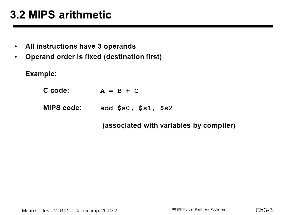 Mario Côrtes - MO401 - IC/Unicamp- 2004s2 Ch3-34 1998 Morgan Kaufmann Publishers Things we are not going to cover linkers, loaders, memory layout stacks, frames, recursion manipulating strings and pointers interrupts and exceptions system calls and conventions Some of these we ll talk about later We ve focused on architectural issues –basics of MIPS assembly language and machine code –well build a processor to execute these instructions.