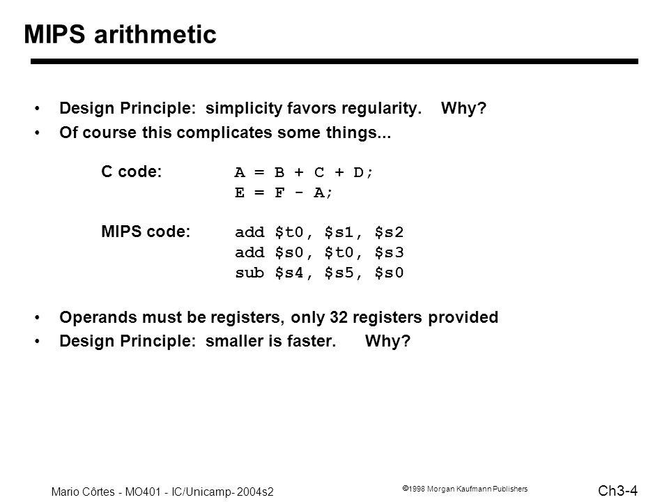 Mario Côrtes - MO401 - IC/Unicamp- 2004s2 Ch3-25 1998 Morgan Kaufmann Publishers Uso do $zero Zero é um valor útil Custo em hardware é (quase) nulo Útil, por exemplo, para implementar –mov $s1, $s2# $s1 $s2 –clear $s1# $s1 0 –blt $s1, $s2, Label # branch on less than