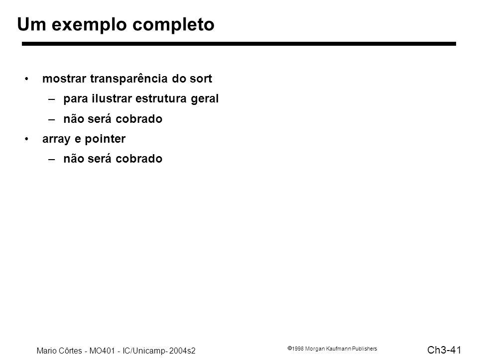 Mario Côrtes - MO401 - IC/Unicamp- 2004s2 Ch3-41 1998 Morgan Kaufmann Publishers Um exemplo completo mostrar transparência do sort –para ilustrar estr