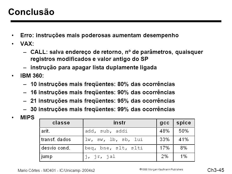 Mario Côrtes - MO401 - IC/Unicamp- 2004s2 Ch3-45 1998 Morgan Kaufmann Publishers Conclusão Erro: instruções mais poderosas aumentam desempenho VAX: –C