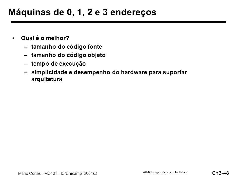 Mario Côrtes - MO401 - IC/Unicamp- 2004s2 Ch3-48 1998 Morgan Kaufmann Publishers Máquinas de 0, 1, 2 e 3 endereços Qual é o melhor? –tamanho do código
