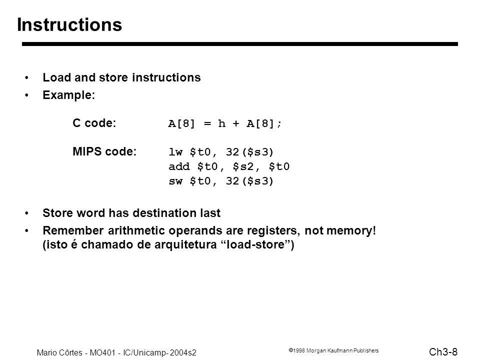 Mario Côrtes - MO401 - IC/Unicamp- 2004s2 Ch3-29 1998 Morgan Kaufmann Publishers Chamada de procedimentos Desvio: passar parâmetros, executar (salvar contexto), retornar, (recuperar contexto) Instrução SIMPLES do MIPS jal endereço –desvia para endereço –salva automaticamente endereço da próxima instrução em $ra ($31) O que acontece com jal aninhados.