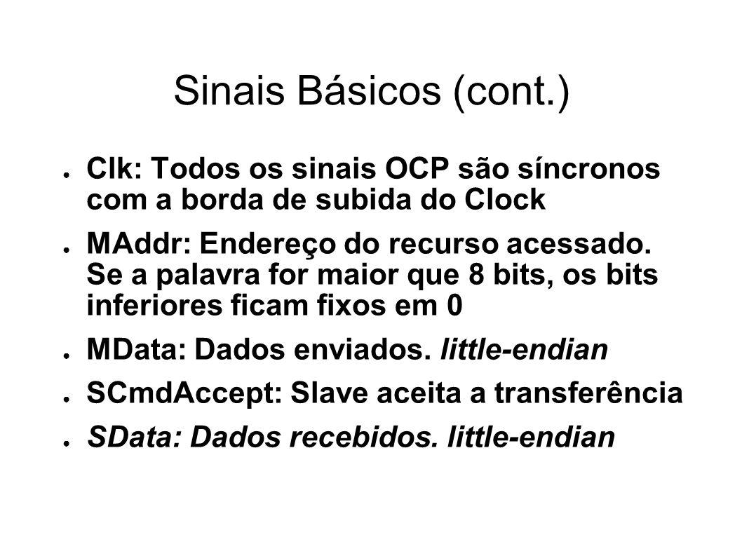 Sinais Básicos (cont.) Clk: Todos os sinais OCP são síncronos com a borda de subida do Clock MAddr: Endereço do recurso acessado.
