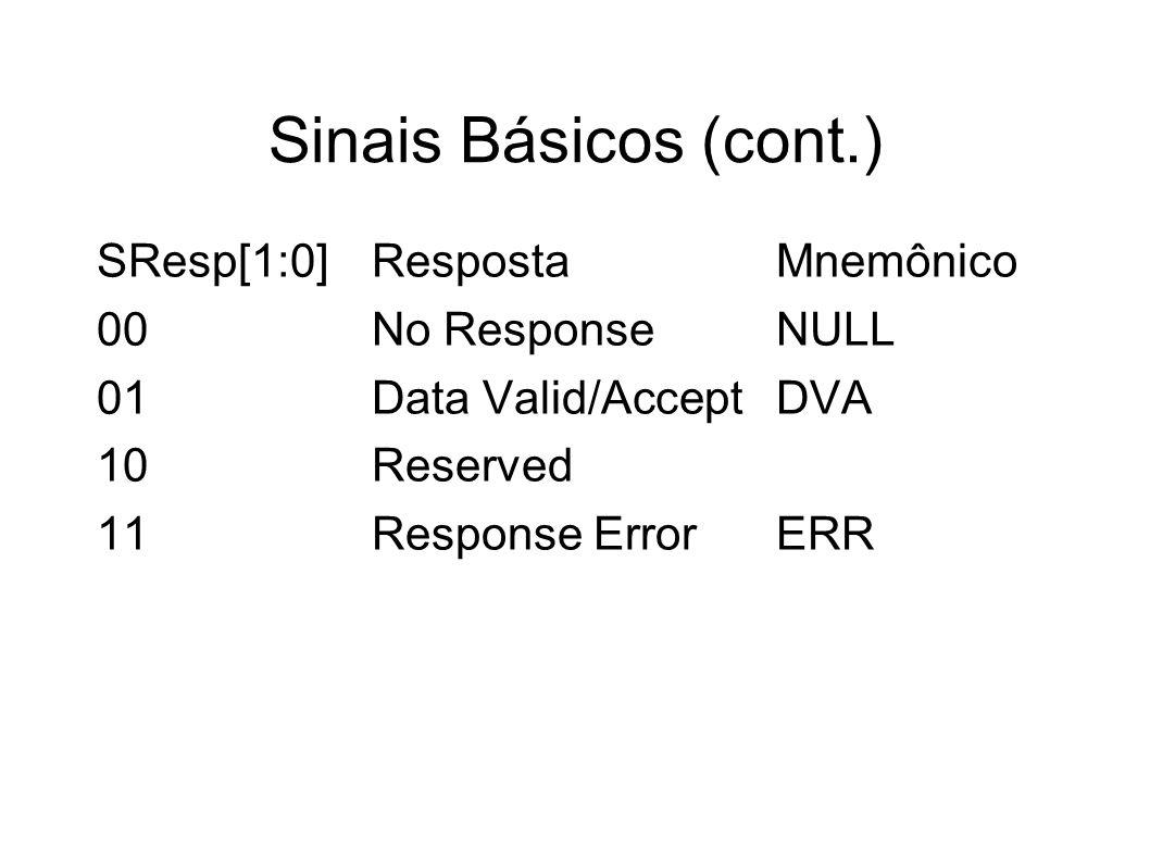 Sinais Básicos (cont.) SResp[1:0]RespostaMnemônico 00No ResponseNULL 01Data Valid/AcceptDVA 10Reserved 11Response ErrorERR