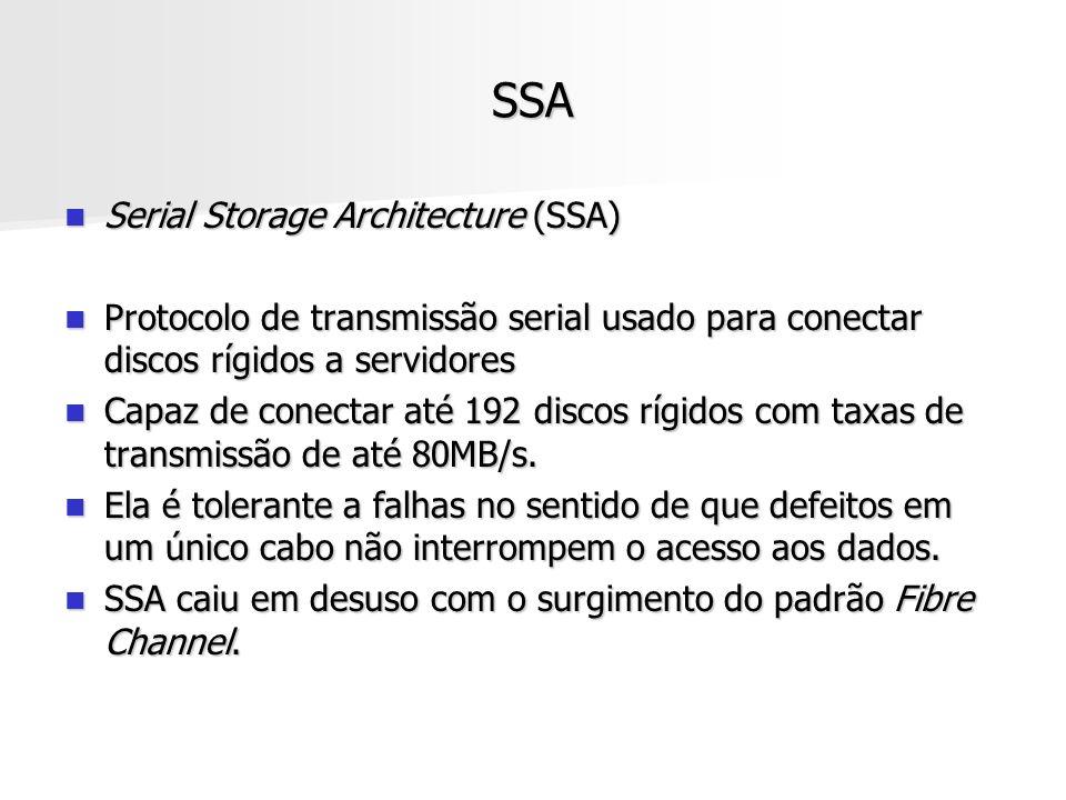 SSA Serial Storage Architecture (SSA) Serial Storage Architecture (SSA) Protocolo de transmissão serial usado para conectar discos rígidos a servidore
