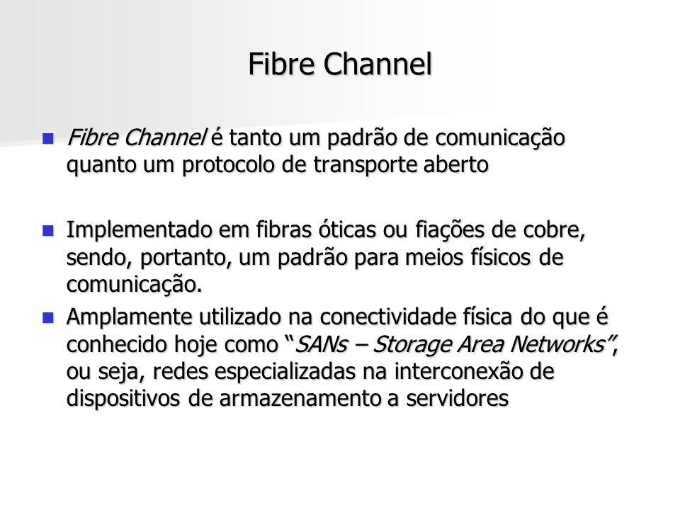 Fibre Channel Fibre Channel é tanto um padrão de comunicação quanto um protocolo de transporte aberto Fibre Channel é tanto um padrão de comunicação quanto um protocolo de transporte aberto Implementado em fibras óticas ou fiações de cobre, sendo, portanto, um padrão para meios físicos de comunicação.