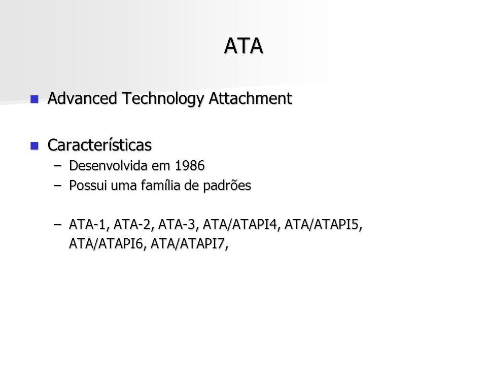 ATA Advanced Technology Attachment Advanced Technology Attachment Características Características –Desenvolvida em 1986 –Possui uma família de padrões
