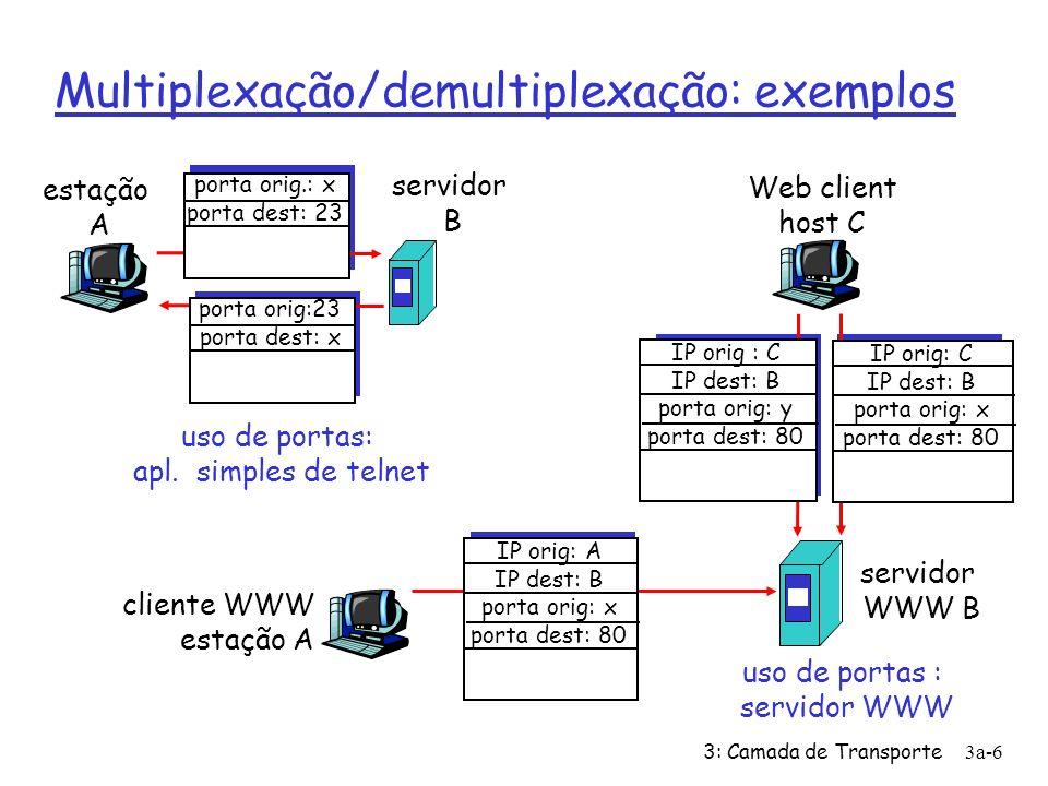 3: Camada de Transporte3a-6 Multiplexação/demultiplexação: exemplos estação A servidor B porta orig.: x porta dest: 23 porta orig:23 porta dest: x uso de portas: apl.