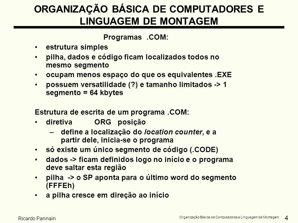 4 Organização Básica de Computadores e Linguagem de Montagem Ricardo Pannain ORGANIZAÇÃO BÁSICA DE COMPUTADORES E LINGUAGEM DE MONTAGEM Programas.COM: