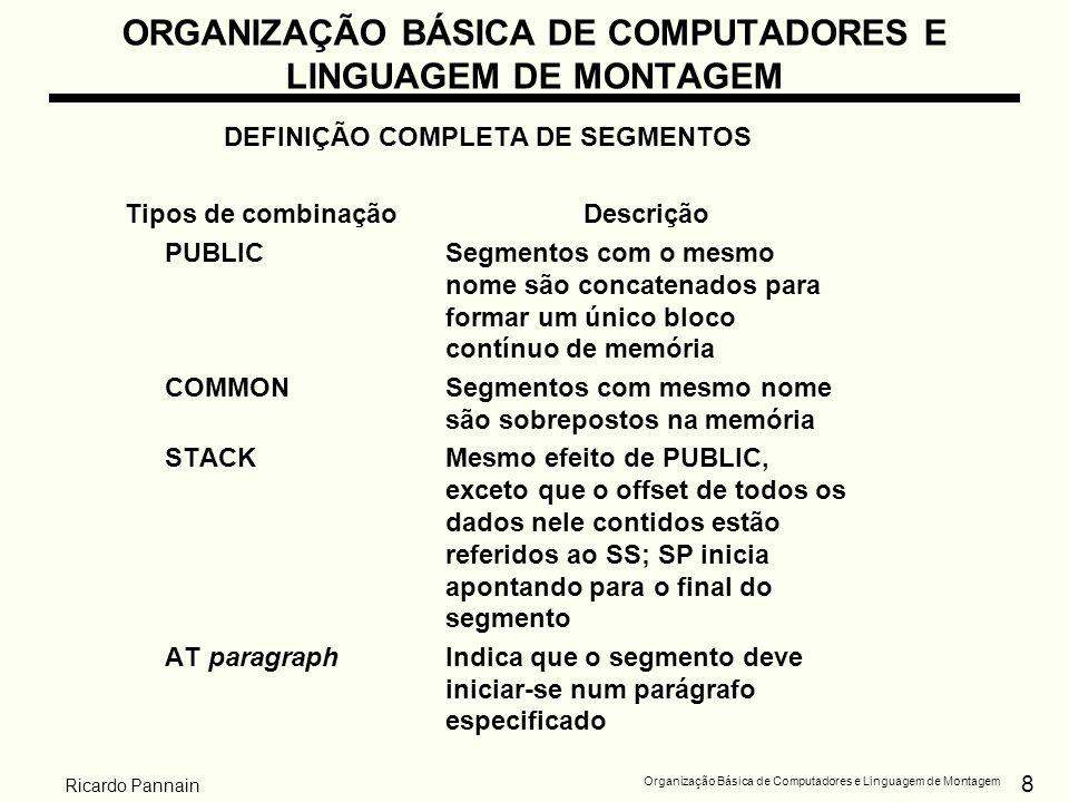 8 Organização Básica de Computadores e Linguagem de Montagem Ricardo Pannain ORGANIZAÇÃO BÁSICA DE COMPUTADORES E LINGUAGEM DE MONTAGEM DEFINIÇÃO COMP