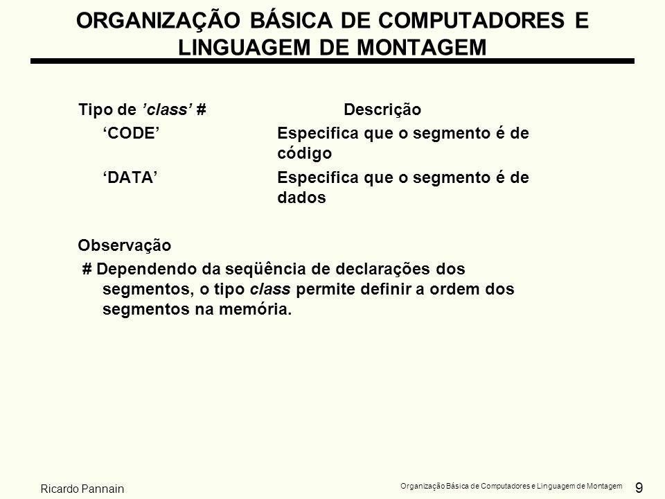 9 Organização Básica de Computadores e Linguagem de Montagem Ricardo Pannain ORGANIZAÇÃO BÁSICA DE COMPUTADORES E LINGUAGEM DE MONTAGEM Tipo de class