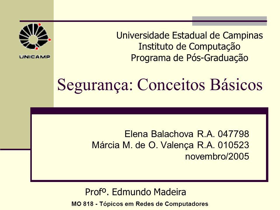 Segurança: Conceitos Básicos Elena Balachova R.A. 047798 Márcia M. de O. Valença R.A. 010523 novembro/2005 Universidade Estadual de Campinas Instituto
