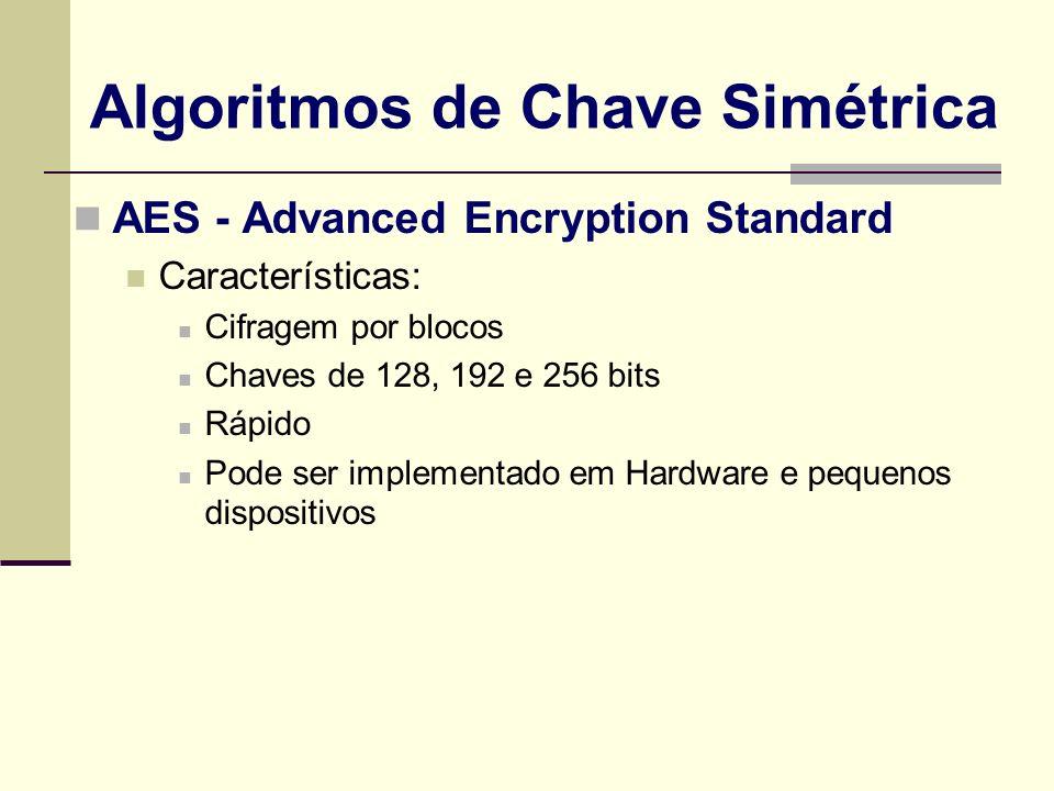 AES - Advanced Encryption Standard Características: Cifragem por blocos Chaves de 128, 192 e 256 bits Rápido Pode ser implementado em Hardware e peque