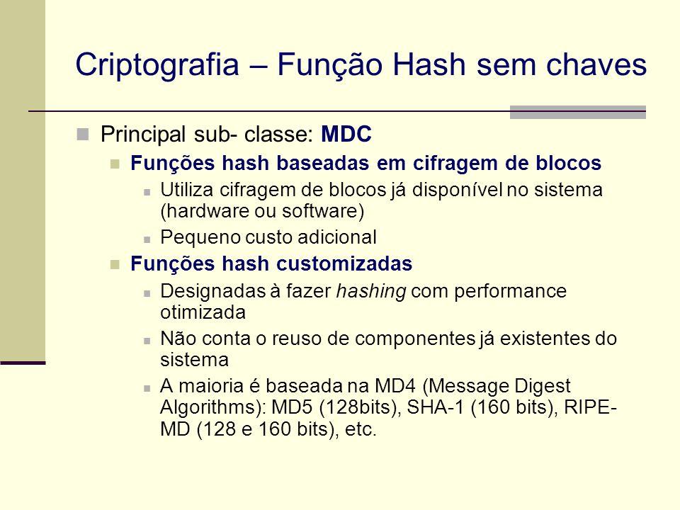 Principal sub- classe: MDC Funções hash baseadas em cifragem de blocos Utiliza cifragem de blocos já disponível no sistema (hardware ou software) Pequ