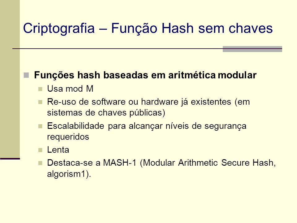 Funções hash baseadas em aritmética modular Usa mod M Re-uso de software ou hardware já existentes (em sistemas de chaves públicas) Escalabilidade par