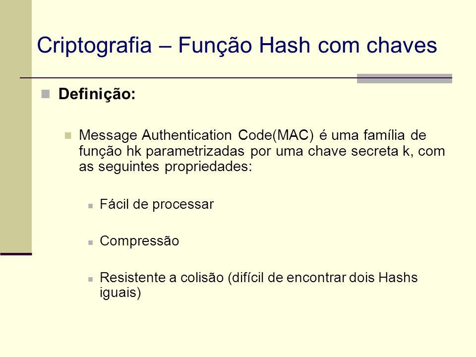 Definição: Message Authentication Code(MAC) é uma família de função hk parametrizadas por uma chave secreta k, com as seguintes propriedades: Fácil de