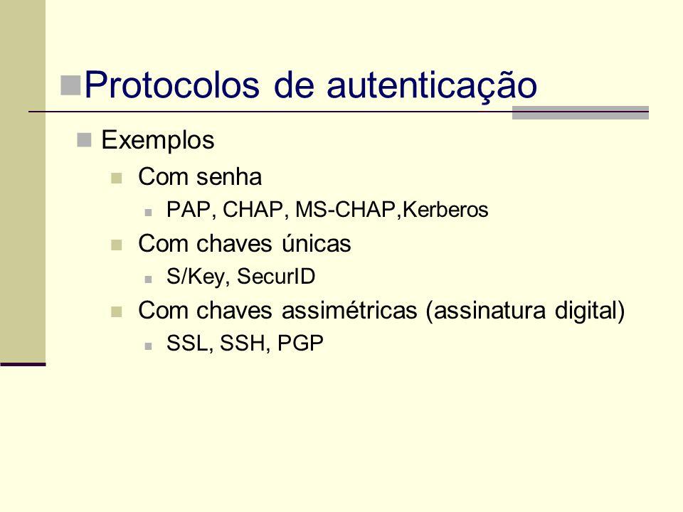 Exemplos Com senha PAP, CHAP, MS-CHAP,Kerberos Com chaves únicas S/Key, SecurID Com chaves assimétricas (assinatura digital) SSL, SSH, PGP Protocolos