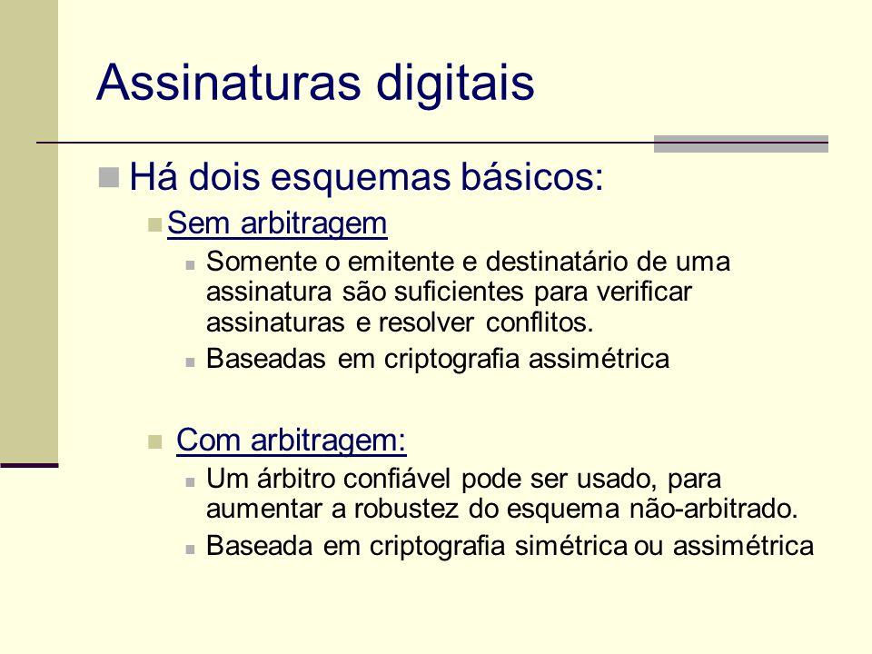 Assinaturas digitais Há dois esquemas básicos: Sem arbitragem Somente o emitente e destinatário de uma assinatura são suficientes para verificar assin
