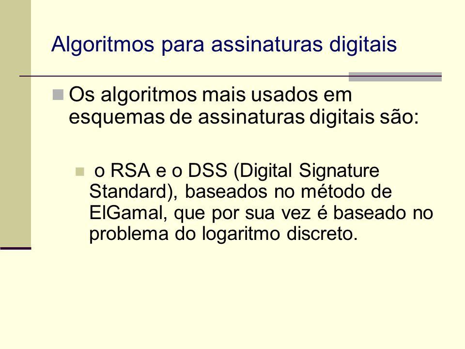 Algoritmos para assinaturas digitais Os algoritmos mais usados em esquemas de assinaturas digitais são: o RSA e o DSS (Digital Signature Standard), ba