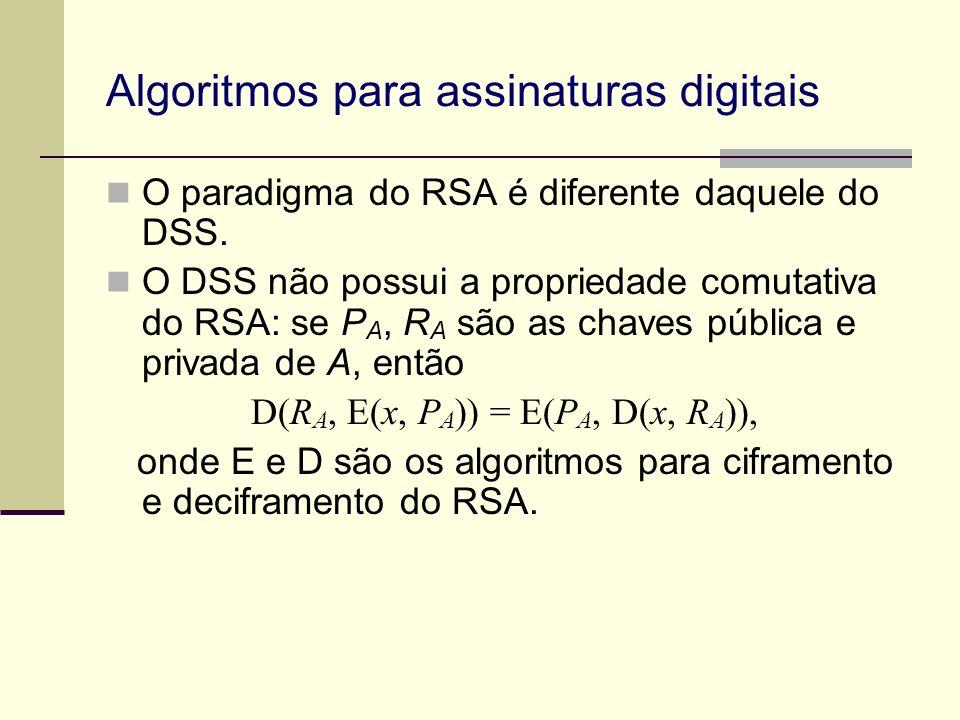 Algoritmos para assinaturas digitais O paradigma do RSA é diferente daquele do DSS. O DSS não possui a propriedade comutativa do RSA: se P A, R A são
