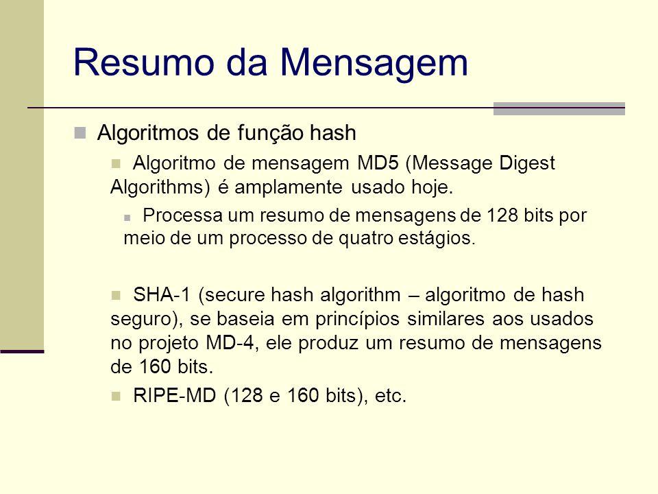 Resumo da Mensagem Algoritmos de função hash Algoritmo de mensagem MD5 (Message Digest Algorithms) é amplamente usado hoje. Processa um resumo de mens
