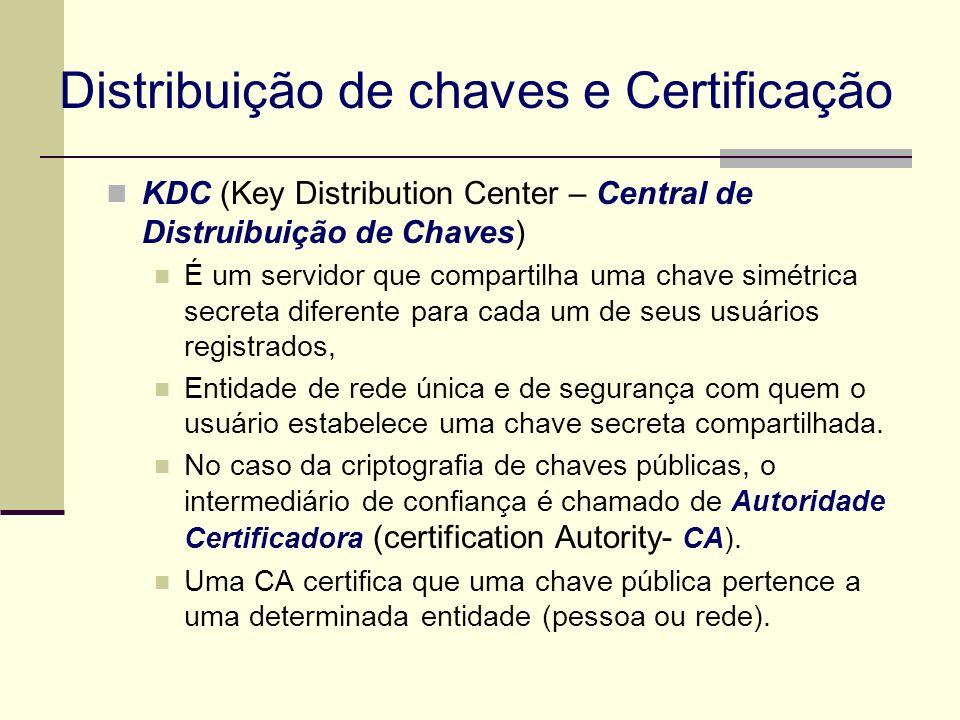 Distribuição de chaves e Certificação KDC (Key Distribution Center – Central de Distruibuição de Chaves) É um servidor que compartilha uma chave simét
