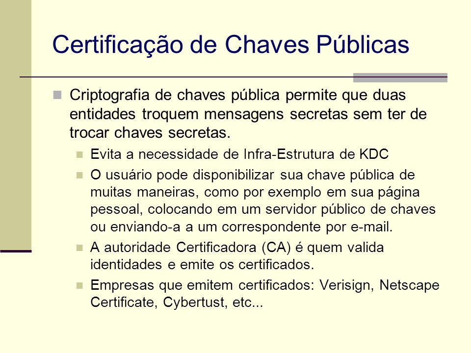 Certificação de Chaves Públicas Criptografia de chaves pública permite que duas entidades troquem mensagens secretas sem ter de trocar chaves secretas