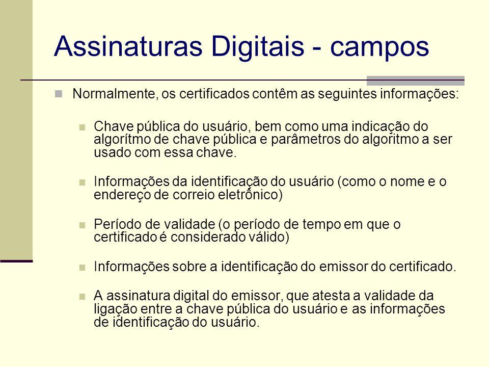 Assinaturas Digitais - campos Normalmente, os certificados contêm as seguintes informações: Chave pública do usuário, bem como uma indicação do algorí