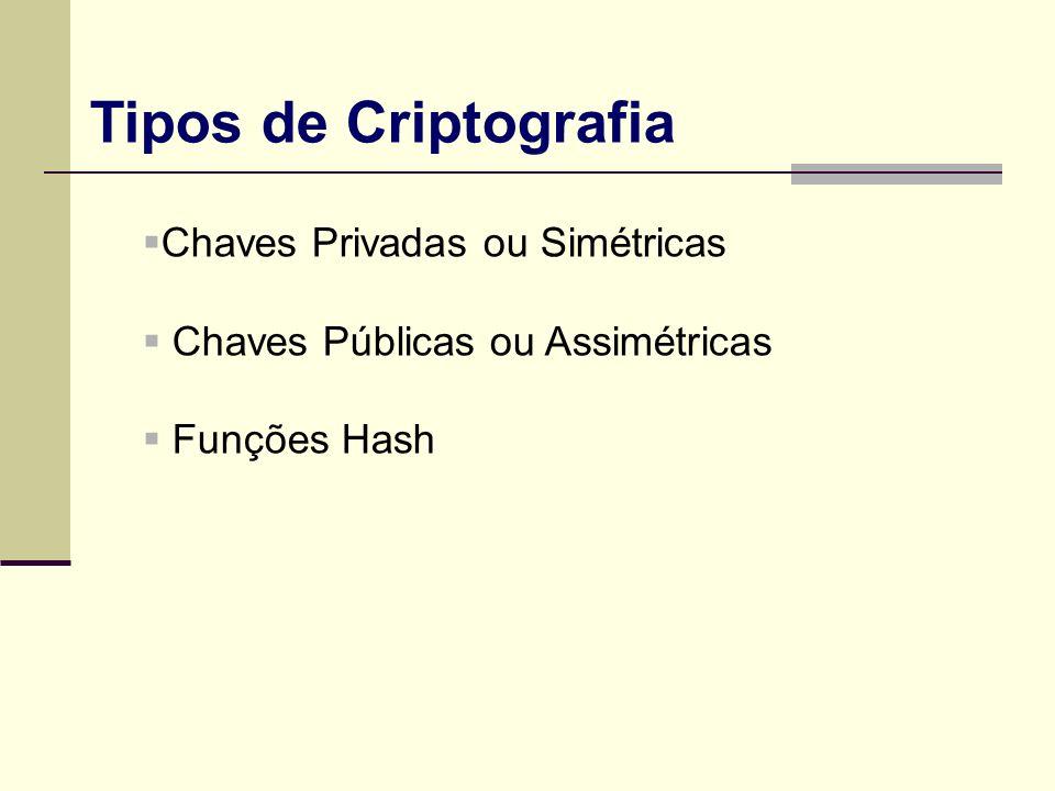Chaves Privadas ou Simétricas Chaves Públicas ou Assimétricas Funções Hash Tipos de Criptografia
