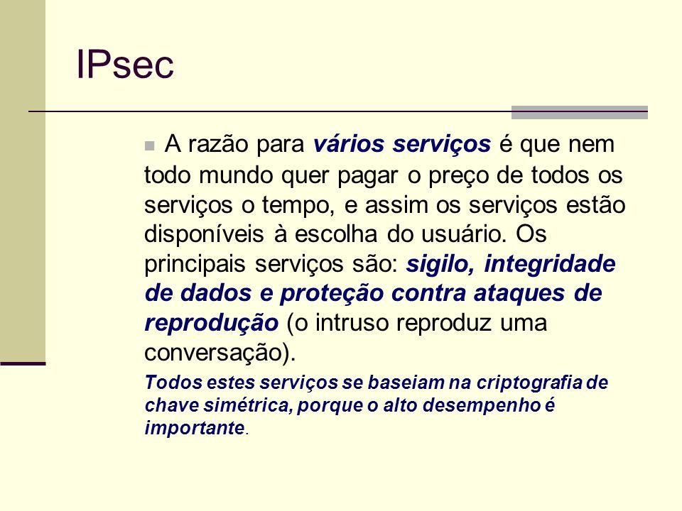 IPsec A razão para vários serviços é que nem todo mundo quer pagar o preço de todos os serviços o tempo, e assim os serviços estão disponíveis à escol