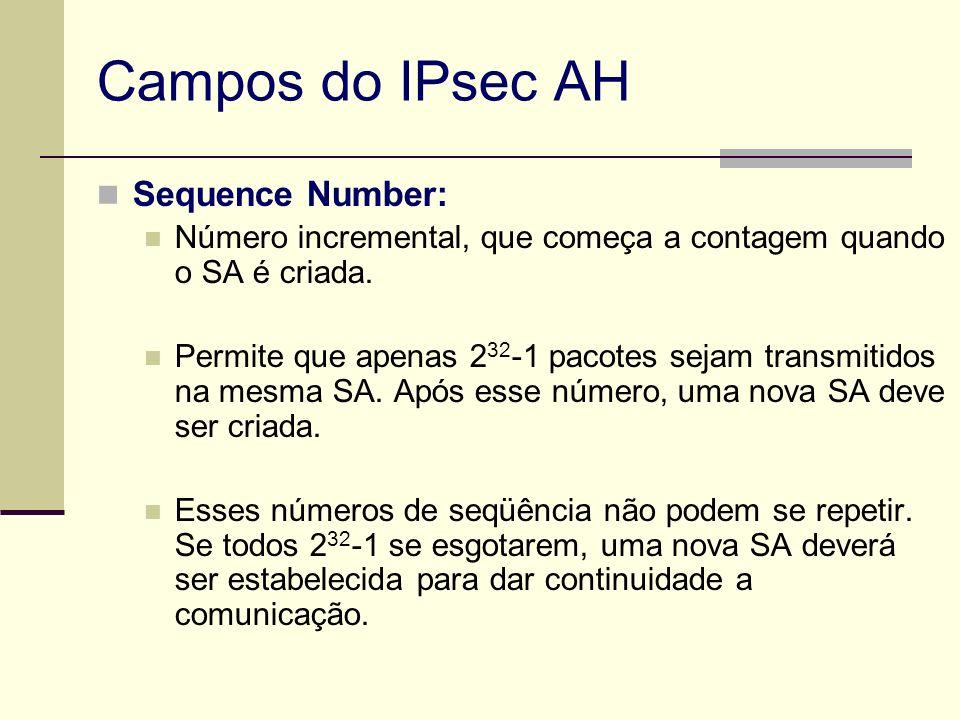 Campos do IPsec AH Sequence Number: Número incremental, que começa a contagem quando o SA é criada. Permite que apenas 2 32 -1 pacotes sejam transmiti