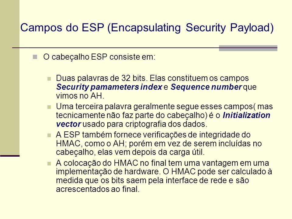 Campos do ESP (Encapsulating Security Payload) O cabeçalho ESP consiste em: Duas palavras de 32 bits. Elas constituem os campos Security pamameters in