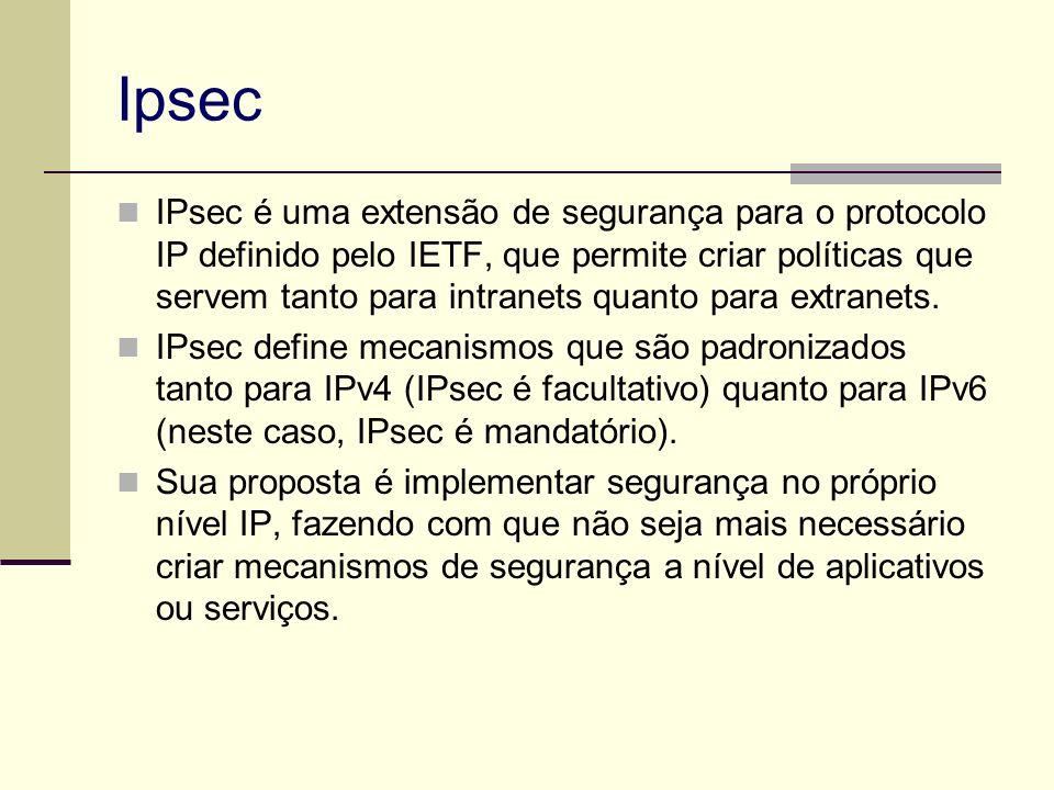 Ipsec IPsec é uma extensão de segurança para o protocolo IP definido pelo IETF, que permite criar políticas que servem tanto para intranets quanto par