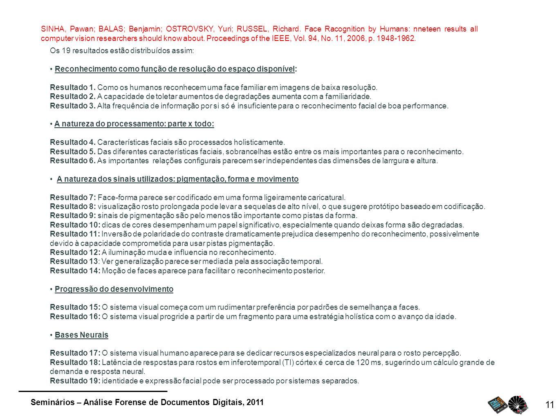Seminários – Análise Forense de Documentos Digitais, 2011 11 SINHA, Pawan; BALAS; Benjamin; OSTROVSKY, Yuri; RUSSEL, Richard. Face Racognition by Huma