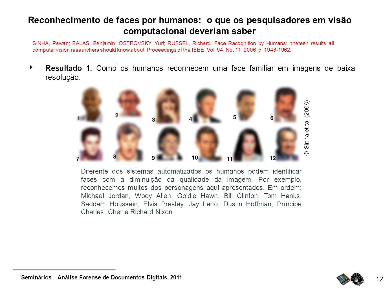 Seminários – Análise Forense de Documentos Digitais, 2011 12 Reconhecimento de faces por humanos: o que os pesquisadores em visão computacional deveri