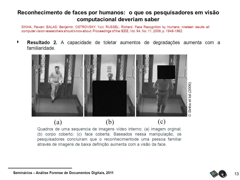 Seminários – Análise Forense de Documentos Digitais, 2011 13 Reconhecimento de faces por humanos: o que os pesquisadores em visão computacional deveri