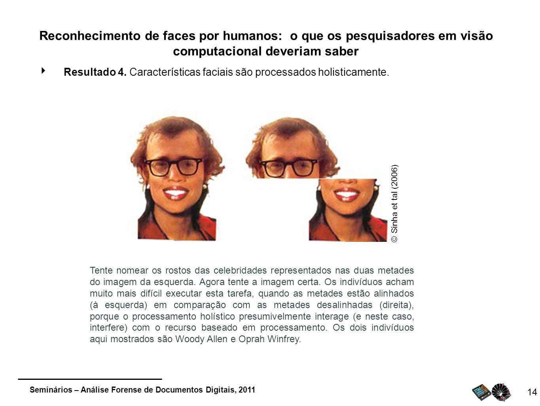 Seminários – Análise Forense de Documentos Digitais, 2011 14 Reconhecimento de faces por humanos: o que os pesquisadores em visão computacional deveri