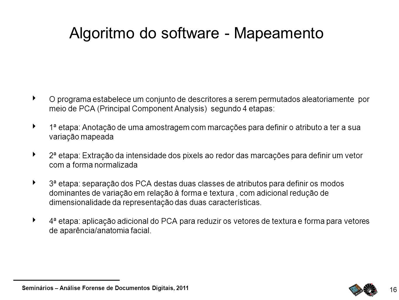 Seminários – Análise Forense de Documentos Digitais, 2011 Algoritmo do software - Mapeamento O programa estabelece um conjunto de descritores a serem