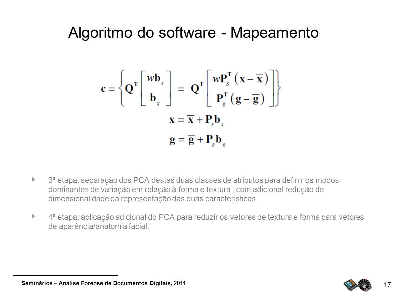 Seminários – Análise Forense de Documentos Digitais, 2011 Algoritmo do software - Mapeamento 3ª etapa: separação dos PCA destas duas classes de atribu