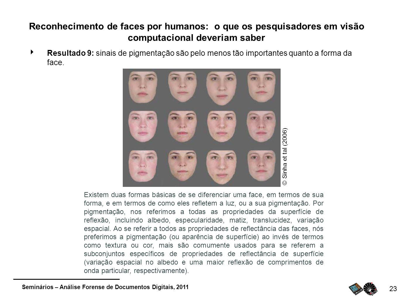 Seminários – Análise Forense de Documentos Digitais, 2011 23 Reconhecimento de faces por humanos: o que os pesquisadores em visão computacional deveri