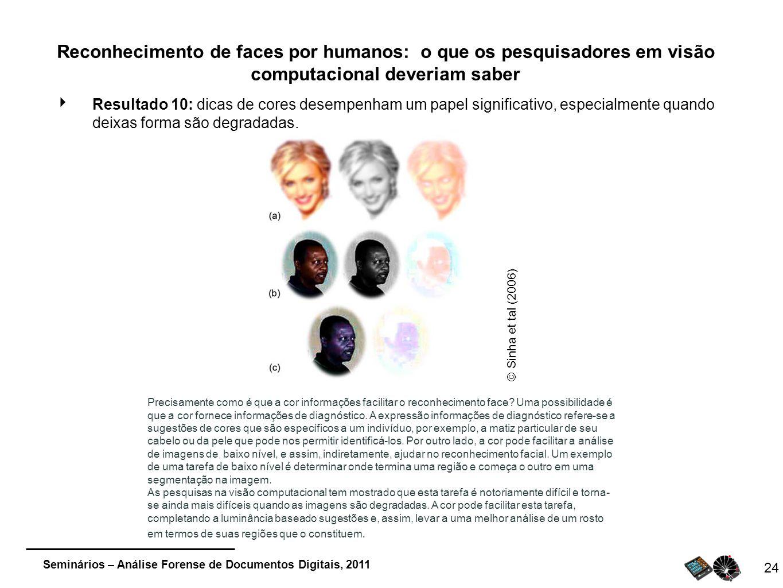 Seminários – Análise Forense de Documentos Digitais, 2011 24 Reconhecimento de faces por humanos: o que os pesquisadores em visão computacional deveri