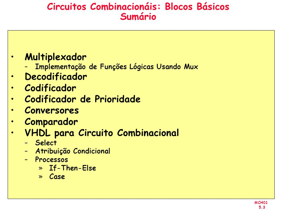 MO401 5.34 Circuito Combinacional VHDL Processo (Comando Case) LIBRARY ieee ; USE ieee.std_logic_1164.all ; ENTITY mux2to1 IS PORT (w0, w1, s: IN STD_LOGIC ; f: OUT STD_LOGIC ) ; END mux2to1 ; ARCHITECTURE Behavior OF mux2to1 IS BEGIN PROCESS ( w0, w1, s ) BEGIN CASE s IS WHEN 0 => f <= w0 ; WHEN OTHERS => f <= w1 ; END CASE ; END PROCESS ; END Behavior ;
