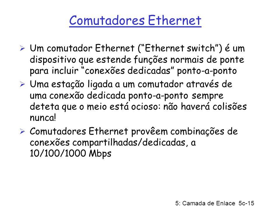 5: Camada de Enlace 5c-15 Comutadores Ethernet Um comutador Ethernet (Ethernet switch) é um dispositivo que estende funções normais de ponte para incl